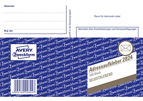 Avery Zweckform 2824 Adressaufkleber/Paketaufkleber, DIN A6, selbstklebend, 100 Blatt, weiß