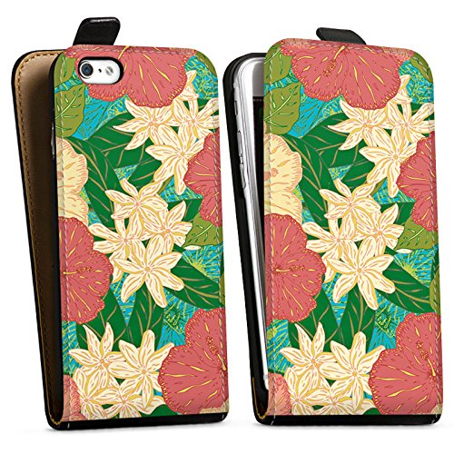 Apple iPhone X Silikon Hülle Case Schutzhülle Blumen Muster watercolor Downflip Tasche schwarz