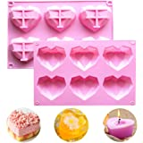 WELLXUNK Moldes Silicona Corazón, 2 Pcs Molde De Pastel De Mousse 3D, Herramientas Para Hornear Bricolaje, Molde De Silicona