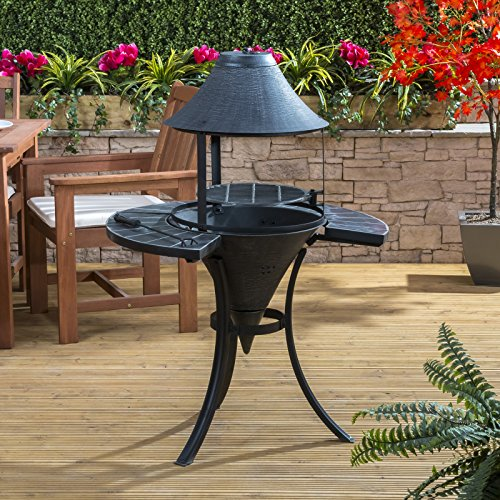 St Lucia Cast Iron Chiminea with Swing-Out Barbecue Grill Including Free Poker and Protective Cover