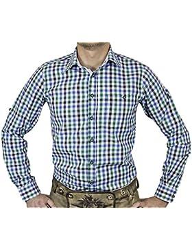 Maddox Slim Fit Trachtenhemd Ludwig - Blau Grün - Kariertes Herren Oberhemd
