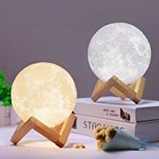 HOME CUBE Plastic 3D Printing LED Touch Control, Adjustable Brightness, USB, Seamless Lunar Night Lamp with Stand, 5.9-inch (White)