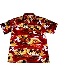 """Chemise Hawaienne Homme """"Sunset in Paradise"""" 100% coton, taille M – 3XL, rouge"""