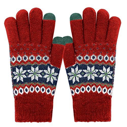 ECOMBOS Touchscreen Handschuhe Damen - Frauen Winter Warm Handschuhe Touch Screen Fäustlinge mit Fleecefutter, Weihnachten Geschenke für Damen Mädchen (Schnee-Rot)