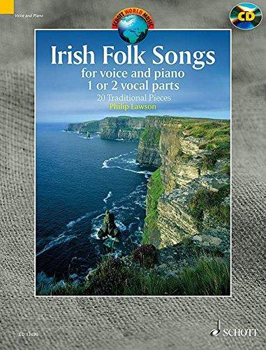 Irish Folk Songs +CD : 20 airs traditionnels irlandais --- Une ou deux voix et piano