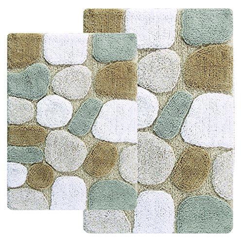 Chesapeake 2-piece pebbles 53,3cm da 86,4cm e 61cm da 101,6cm–tappeto da bagno set, cotone, spa color, 21-inch by 34-inch and 24-inch by 40-inch