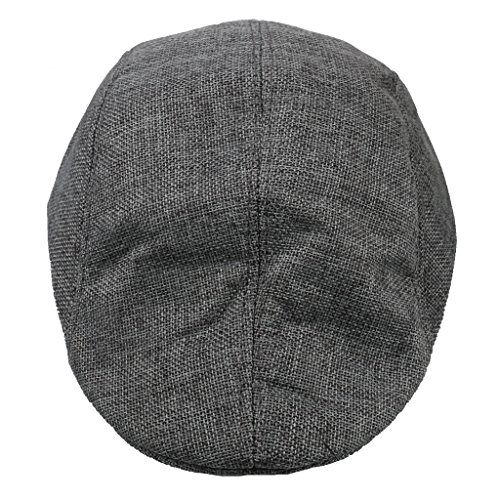 Leinen Barett Cabbie Gatsby Newsboy Flache Kappe Entenschnabel Efeu Hut Kamel - Grau, one size (Leinen Hut)