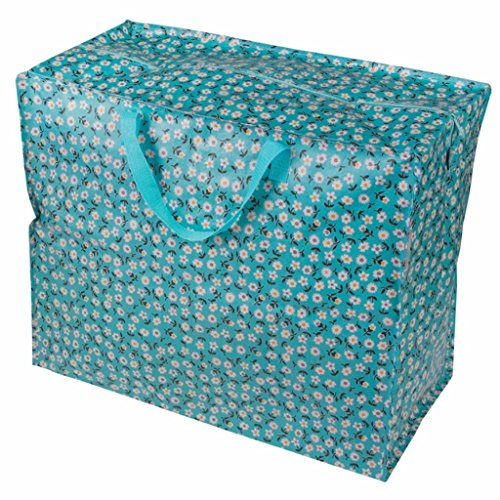 LS Design XXL Jumbo Bag Einkaufstasche Shopper Riesentasche Tasche Allzwecktasche recycled Blume Blau (Blumen-bett-tasche)