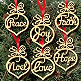 6Pcs Christmas Ornament , Decorations Wooden Ornament Xmas Tree Hanging Tags Pendant Decor MML (multicolour)