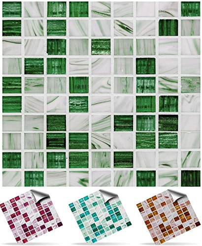 30-deep-green-self-adhesive-mosaic-wall-tile-decals-for-150mm-6-inch-square-tiles-tp12-very-realisti