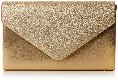 (Swankyswans Damen Kelly Glitter Envelope Clutch Party Prom Bag Tasche, Goldfarben, One Size)