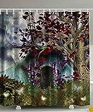 Mystical Magical Tree Anime Moon Fabric Shower Curtain Digital Art Bathroom by Ambesonne