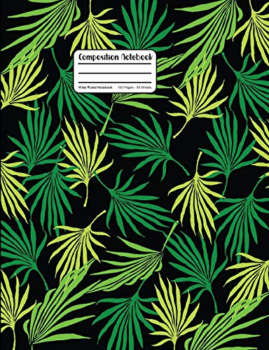 Composition Notebook: Palm Tree Leaf Fronds On Black Wide Ruled Notebook (Leaf Palm Tree)