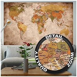 GREAT ART XXL Poster - Retro Weltkarte - Wandbild Used Look Dekoration Globus Kontinente Atlas Weltkarte Old School Vintage Map Weltkugel Geografie Wandposter Wanddeko Bild (140 x 100 cm)