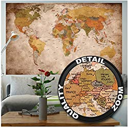 GREAT ART Affiche Vue Usage - Décoration Murale Carte géographie Mondiale Atlas Continental Map d Une Ecole Ancienne Mur Deco Poster Mural Image by (140 x 100 cm)
