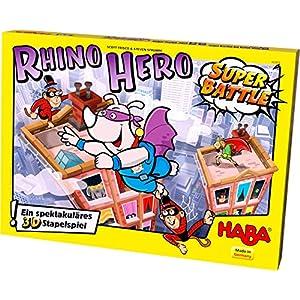 HABA 302808–Juego de construcción Rhino Hero– Super Battle
