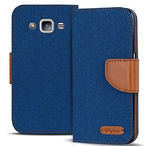 Verco Galaxy J3 Hülle, Schutzhülle für Samsung Galaxy J3 (2016) Tasche Denim Textil Book Case Flip Case - Klapphülle Blau