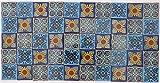 Pack of 50 Assorted Talavera Mexican Handmade 5cm Tiles: Blue Tones