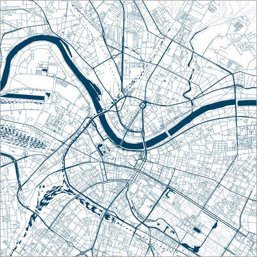 Posterlounge Leinwandbild 20 x 20 cm: Stadtplan von Dresden von 44spaces - fertiges Wandbild, Bild auf Keilrahmen, Fertigbild auf echter Leinwand, Leinwanddruck