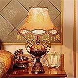 HOME UK- Estilo europeo americano resina tela de arte lámpara de mesa dormitorio de cabecera moderna minimalista moda creativa pastoral rural retro lámpara de mesa ( Tamaño : Pequeño )