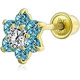 Piccolo Cubic a fiori di vite di C'è l'orecchino della cartilagine per l'elica per le donne adolescenti 14K Oro Reale Simulat