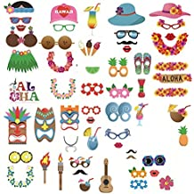 LUOEM Accesorios Photocall Cumpleaños Boda Decoracion Fiesta Hawaiana Tropical Luau 60 Piezas