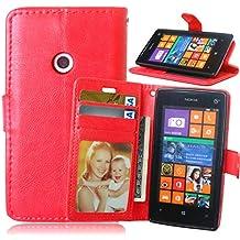 Beiuns para Nokia Lumia 520 / Lumia 525 Funda de PU piel Carcasa - K118 rojo cálido