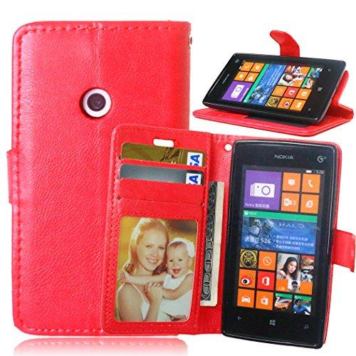 Telefon Kasten für Nokia Microsoft Lumia 520 ,Bookstyle 3 Card Slot PU Leder Case Interner Schutz Schutzhülle Handy Taschen-Rot (Lumia Telefon-kasten 520 Nokia)