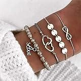 Ushiny Set di braccialetti con ciondolo a forma di cuore, con scritta Love e perline, regolabile, accessori per donne e ragaz