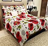 Home Candy 144 TC Cotton Double Bedsheet with 2 Pillow Covers - Printed, Red