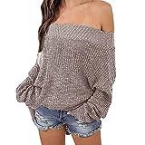 Exlura Damen Schulterfreier Lockerer Oversized Pullover mit Fledermausärmeln Sweater Strick-Pulli, Khaki, XL/2XL