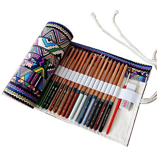 Ciaoed Federmäppchen Federtasche Mäppchen Schlamperrolle Filz Bleistift Beutel Für 36 Buntstifte Bleistifte sind nicht enthalten B (Triple-zip-tasche)