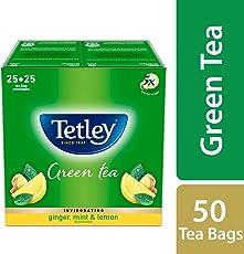 Tetley Green Tea Bags, Ginger Mint Lemon (50 Tea Bags)