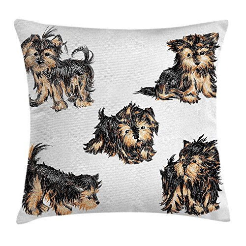 Icndpshorts Yorkie Throw Pillow Cushion Cover, Hand Drawn Cute Yorkies Realistic Yorkshire Terrier Images Dog Love Cartoon, Decorative Square Accent Pillow Case, 26 X 26 inches, Pale Coffe Black