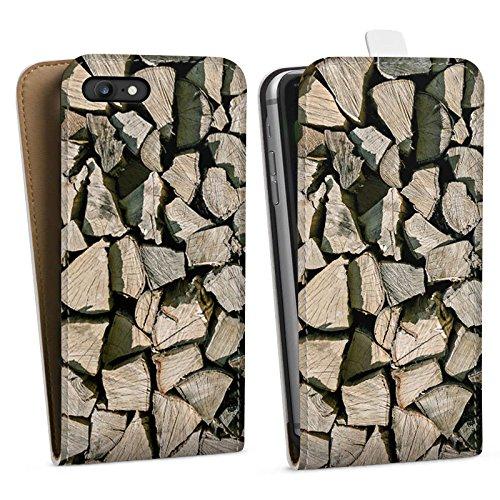 Apple iPhone X Silikon Hülle Case Schutzhülle Holz Look Holzscheite Baum Downflip Tasche weiß