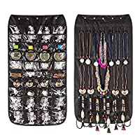 GZQ Double-Sided Hanging Storage Organiser Bag Non-Woven 40 Pockets 20 Hook for Jewellery Earrings Necklace Bracelet (Black)