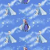 Fabulous Fabrics Cretonne Eisprinzessin und Olaf – blau