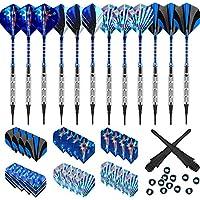 Dardos Profesionales Punta Plastico (18g), 12 Dardos de Plástico para Bar Dianas Electrónicas - con Barriles de Acero Silver, eje de dardos azul,O-rings + 24 Plumas azul (16 Slim / 8 Standard)