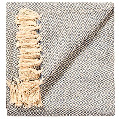 Fair Trade Soft Hand Woven Sofa Sofa Überwurf Grau Klein Diamant Muster 100% Baumwolle 125x 150cm TH8 (Woven Hundebett)