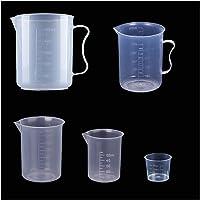 DBAILY Bécher Gradué Plastique, 5 Pièces Transparent Tasse Mesurer Poignée Cuisine Laboratoire Labs Gradués Béchers Set…