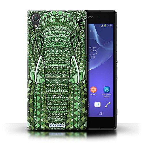 Coque en plastique pour Sony Xperia Z2 Collection Motif Animaux Aztec - Tigre-Bleu éléphant-Vert