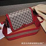 WOAIRAN Frauen Umhängetasche Umhängetasche Mode Vintage Druck Mini Damen Breiten Schultergurt Kleine Quadratische Tasche Umhängetasche Rot
