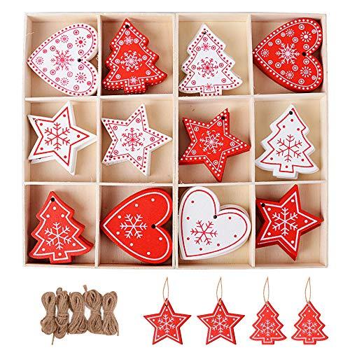 Serwoo 48pz ciondoli pendenti legno natalizi 5pz corda iuta 2pz scatola immagazzinaggio decorazioni da appendere abbellimenti ornamenti decorativi per albero di natale fai da te bianco rosso