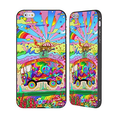 Ufficiale Howie Green Cantante Hippie Psichedelico Nero Cover Contorno con Bumper in Alluminio per Apple iPhone 5 / 5s / SE Bus Magico