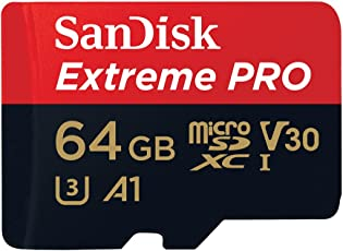 SanDisk SDSQXCG-064G-GN6MA 64GB Extreme Pro Micro SD Karte mit Adapter, Schwarz/Rot