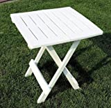 Camping Table, 43 x 45 x 50 CM White Plastic Folding Table Foldable
