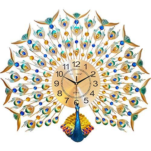 WJP Europäische Pfau-Wanduhr, kreative Wohnzimmeruhr, Art Deco Uhr, stille Wandhalterung Tisch Wanduhr,Pfau,cm