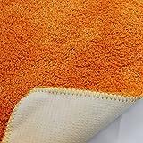 proheim Badematte 2-teiliges Set 50 x 80 und 45 x 50 cm rutschfester Badvorleger Premium Badteppich 1200 g/m² weich & kuschelig Hochflor Duschvorleger, Farbe:Orange - 5