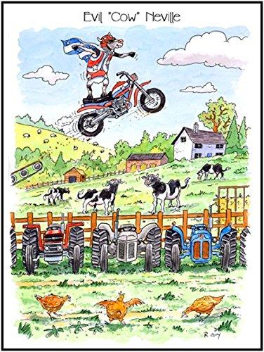 Little Snoring Gifts Tasse 7x 5Grußkarte Funny Farm–Evil 'Kuh' - Kuh Grußkarten