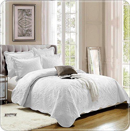 Supreme Bettwäsche Tröster Set Quilt Bestickte Bettwäsche Set, 3 Stück Tagesdecke mit 2 Kissenbezüge:, Polybaumwolle, Weiß, Super King (250 x 270 cm)